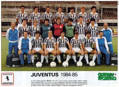 La Juventus nel 1984/85: Pioli è l'ultimo a destra della prima fila in alto