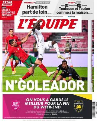 Prima pagina L'Equipe di domenica 15 novembre