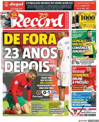 Prima pagina Record di domenica 15 novembre