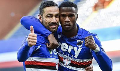 Keita Baldé e Fabio Quagliarella esultano in Samdporia-Fiorentina 2-1 (Profilo social Sampdoria)