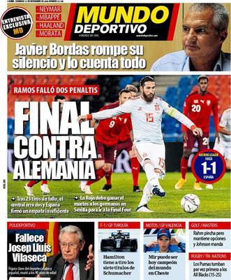Prima pagina Mundo Deportivo di domenica 15 novembre