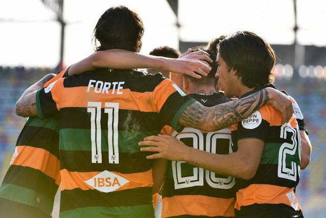 L'esultanza degli arancioneroverdi, FOTO: FC VENEZIA FACEBOOK