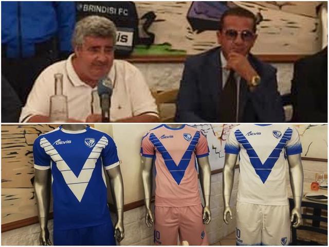 In alto: Il presidente Vangone con Gigi Blasi; in basso: le nuove maglie
