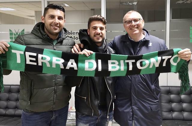 Mauro Bollino con il diesse De Santis e il presidente Rossiello