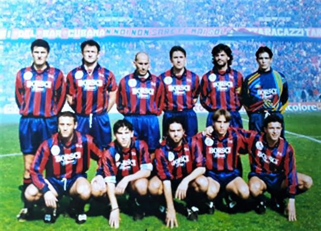 Taranto-Cerignola: 8 aprile 1995 in D. In alto da sinistra: Aruta, Mazzarano, Cipriani, De Gregorio, De Solda, Fabrizio. in basso, sempre da sinistra: Maiuri, Latartara, Pernisco, Simonetti, Candita