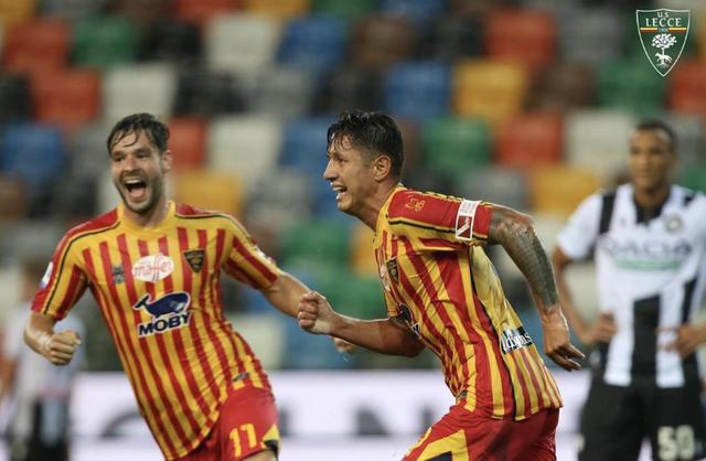 Lapadula esulta dopo la rete all'Udinese (ph. Instagram US Lecce)