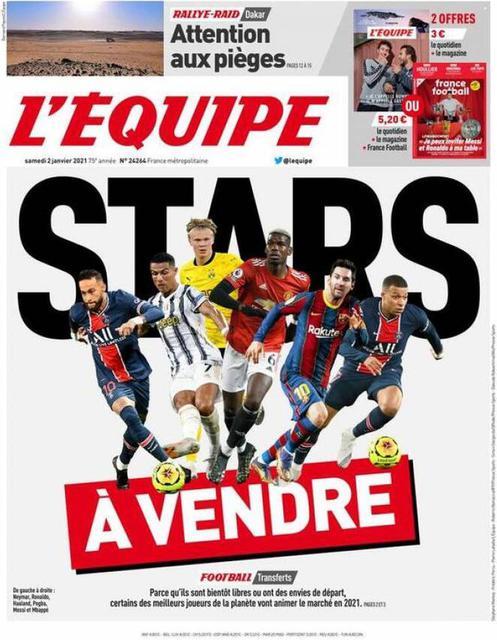Prima pagina L'Equipe di sabato 2 gennaio