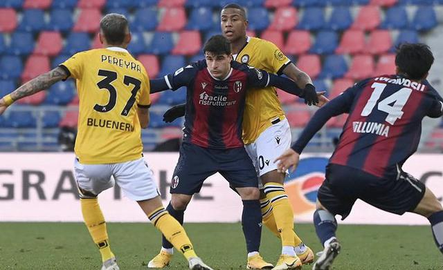 Un'azione di gioco di Bologna-Udinese 2-2 (Profilo social Udinese)