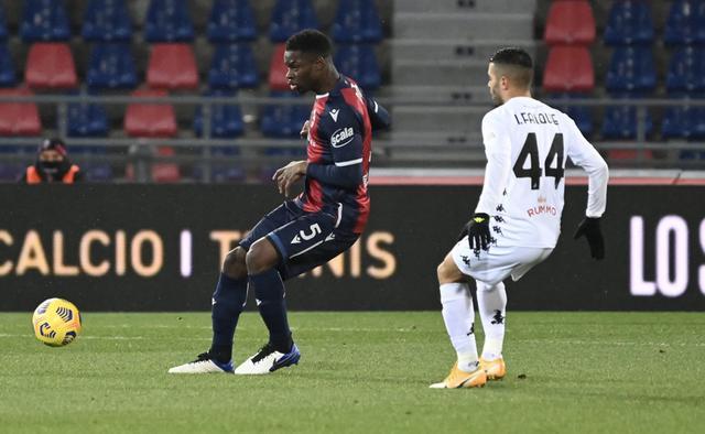 Un'azione di gioco di Bologna-Benevento 1-1 (Profilo social Bologna)