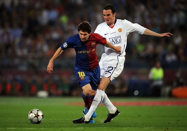 O'Shea e Messi durante la finale di Champions League 2008/09 - Irish TImes