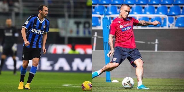 Diego Godin e Radja Nainggolan, giocatori dell'Inter e obiettivi del Cagliari (Collage da profili social giocatori)