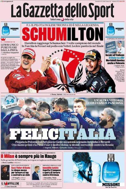 Prima pagina La Gazzetta dello Sport di lunedì 16 novembre