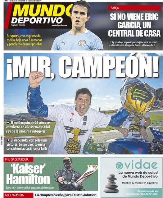 Prima pagina Mundo Deportivo di lunedì 16 novembre