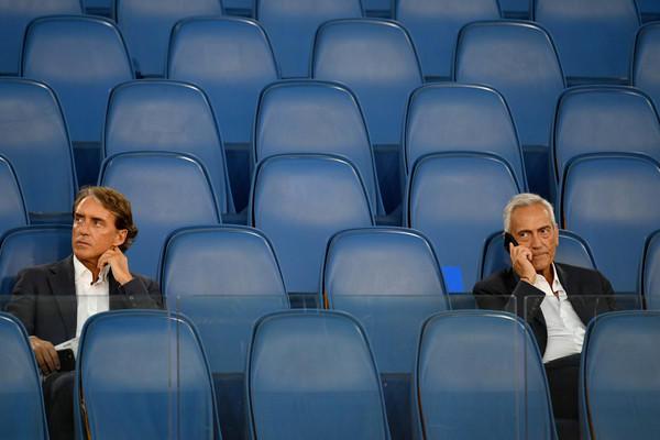 Il ct della Nazionale Roberto Mancini e il presidente della Figc Gabriele Gravina (Zimbio)