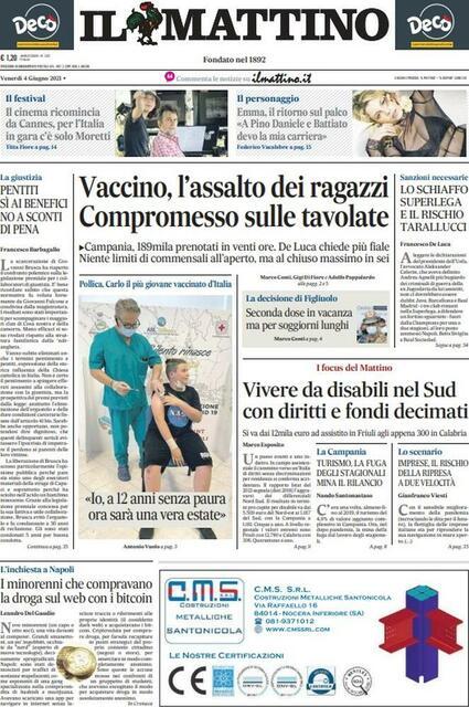 Il Mattino prima pagina (ph.Web)