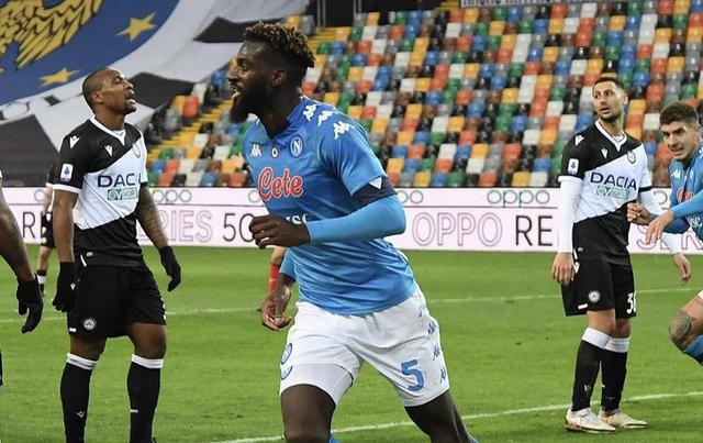 Tiémoué Bakayoko esulta in Udinese-Napoli 1-2 (Profilo social Napoli)