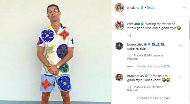 Il look di Cristiano Ronaldo (ph. Instagram CR7)
