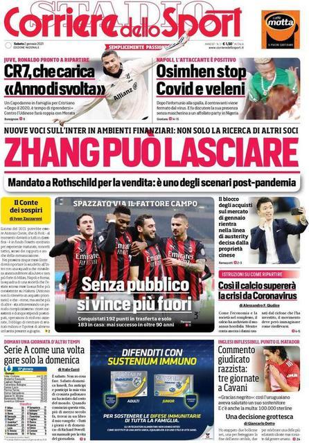 Prima pagina Il Corriere dello Sport di sabato 2 gennaio