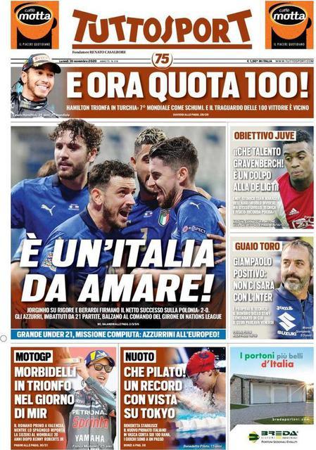Prima pagina Tuttosport di lunedì 16 novembre