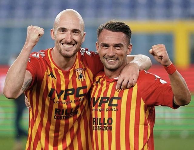 Luca Caldirola e Gaetano Letizia, autori della rimonta del Benevento contro la Sampdoria (Profilo social Benevento)