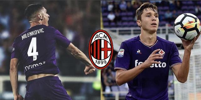 Nikola Milenkovic e Federico Chiesa, obiettivi del Milan (Collage + logo Milan da profili social giocatori)