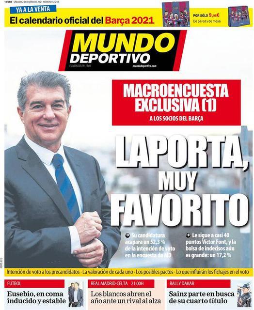 Prima pagina Mundo Deportivo di sabato 2 gennaio