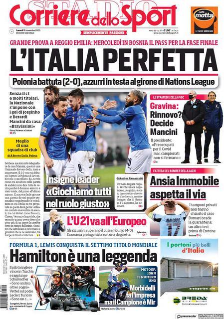 Prima pagina Corriere dello Sport di lunedì 16 novembre