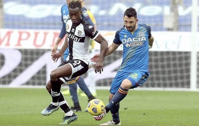 Un'azione di gioco di Parma-Udinese 2-2 (Profilo social Udinese)