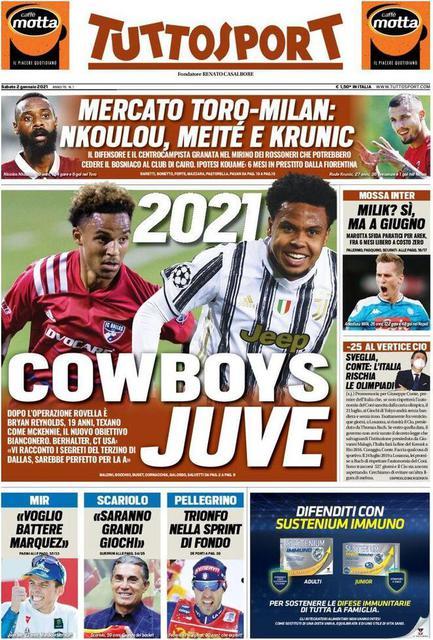 Prima pagina Tuttosport di sabato 2 gennaio