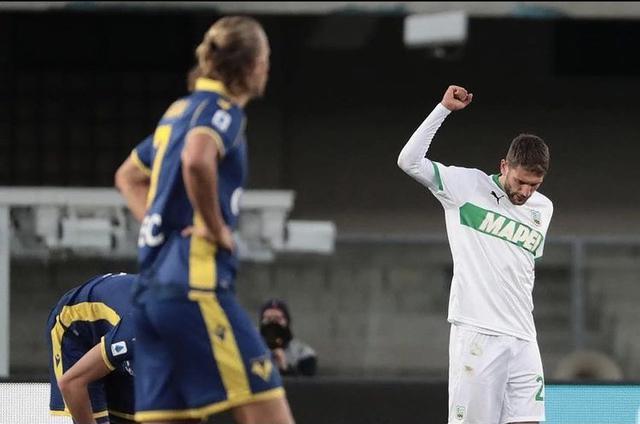 Domenico Berardi esulta in Verona-Sassuolo 0-2 (Profilo social Berardi)