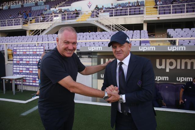 Mister Alvini assieme al tecnico viola Beppe Iachini