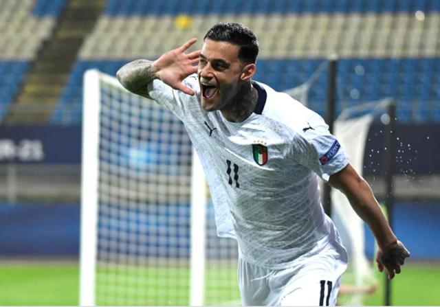 Gianluca Scamacca esulta dopo il gol del momentaneo 0-1 (Foto: Uefa)