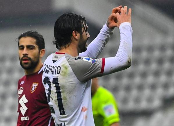 Roberto Soriano festeggia il gol al Torino (ph. Instagram Bologna FC)