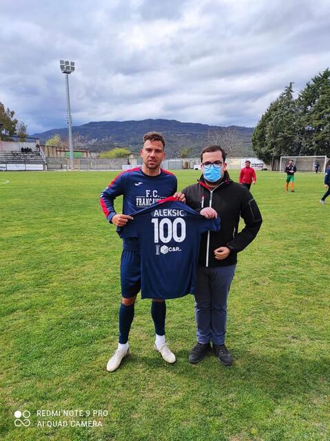 BOJAN ALEKSIC ha festeggiato le 100 presenze con la maglia rossoblu del Francavilla
