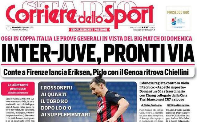 Taglio prima pagina Corriere dello Sport
